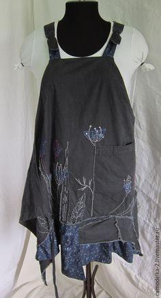 Платья ручной работы. Ярмарка Мастеров - ручная работа. Купить Бохо сарафан  фартук. Handmade. Темно-синий, одежда бохо
