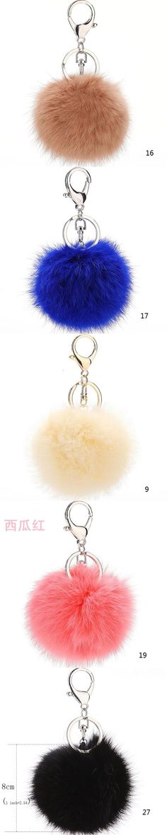 2017 8CM Genuine Rabbit Fur Keychain Ball PomPom Cell Phone Car Key ring Pendant Handbag Zinc Alloy Buckle Charm Key Ring Gift