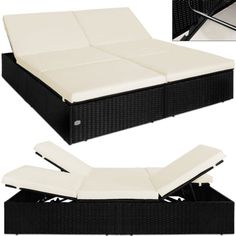 Doppel Sonnenliege Rattan Liege Liegestuhl Lounge Couch Sofa Gartenliege  Schwarz