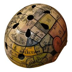Bicycle Helmet by Danielle Baskin- Phrenology Chart. I'm going to write her and ask when she's going to start making motorcycle helmets. Motorcycle Helmets