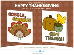 Free Downloadable Printable Thanksgiving Day Cards for Kids Diy Thanksgiving Cards, Friends Thanksgiving, Printable Cards, Free Printables, Happy Mom, Kids Church, Cards For Friends, Kids Cards, Holiday Decorations