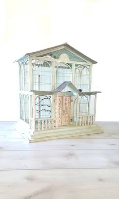 Items similar to Huge Vintage Bird House ~ Wood/ Metal Bird Cage / Sage Green / Grey / Farm Wedding Decor on Etsy Shabby Chic Cottage, Shabby Chic Homes, Farm Wedding, Wedding Decor, Metal Birds, Vintage Birds, Bird Cage, Vintage Home Decor, Wood And Metal