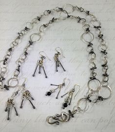 Sterling silver, Handmade Chain with tricolour effect, 42 inches long and adjustable in many ways