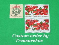Reserved Custom Order for HeartellPress .. Unused Vintage US Postage Stamps by TreasureFox on Etsy