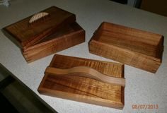 Koa boxes - standard style: mitered corners, rabbited lid, choice of handles