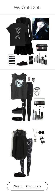 """My Goth Sets"" by nobledynasti ❤ liked on Polyvore featuring Ann Demeulemeester, Kat Von D, Bobbi Brown Cosmetics, Topshop, Bela, Underground, Nicka K, NYX, Wet Seal and claire's"
