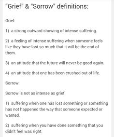 """Grief"" & ""Sorrow"":"