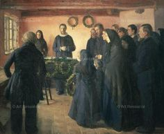 A Funeral is a Realist Oil on Canvas Painting created by Anna Ancher in It lives at the Statens Museum for Kunst in Denmark. The image is in the Public Domain, and tagged Group Portrait, Mourning and Death in Art. Female, Anna, Painter, Western Art, Fine Art Prints, Scandinavian Art, Portrait, Art History, Female Artists