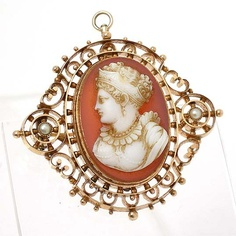 Victorian 14K rose gold pearl detailed stone cameo brooch/drop