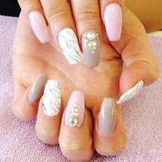 Chic marbling, dusky pinks and greys and Swarovski and gold beading designs on acrylic coffin nail extensions