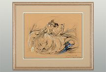 French original Louis Icart signed pastel sketch Le Marionette on paper with new mat and frame. Icart's etchings are very popular for collectors, but this rare original pastel signed by Louis Icart would be the pinnacle piece to any collection.