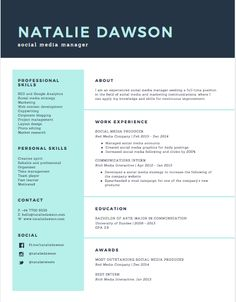 Outstanding Resumes Entrancing Mint Green Icons Simple Infographic Resume  Resume Styles .