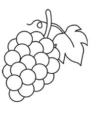 Grapes with Leaf Coloring Page Coloring Pages For Kids