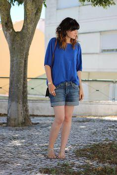 Zara Top, H Shorts, Louis Vuitton Bag, Blanco Sandals, H Rings, Parfois Watch