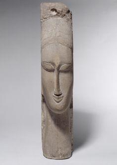 Amedeo Modigliani (1884 - 1920) Tête de femme, 1912, Pierre, 58 x 12 x 16 cm