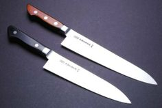 """YOSHIHIRO- High Carbon Hagane Yo Gyuto 2pc Set Chef Knife - MADE IN JAPAN by YOSHIHIRO. $194.99. Hardness Rockwell C scale: 61. Steel Type: HAGANE, Virgin High Carbon Steel (not stain-resistant). Blade: Double-Edged / Blade Length: 7"""" (180mm),8.25""""(210mm). Knife Type: Gyuto Knife (Western Handle) SET. BOLSTER: high carbon steel  / Handle Material: Japanese pakka wood. About YOSHIHIRO- """"YOSHIHIRO"""" has been designated as a one of the Best Sword Craftsman in Japa..."""