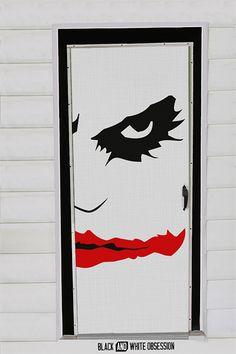 Movie Themed Halloween Door Decorations: Joker/Batman   www.blackandwhiteobsession.com