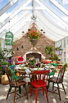 Colorful Greenhouse / sunroom / patio room / Outdoor dinning space.
