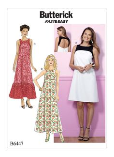 B6447 Misses Back cut out dresses with yokes