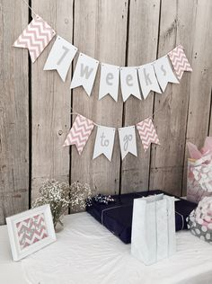 Pink, gray and white Baby Shower decor
