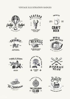 restaurant logo Set of food logo design vectors Resturant Logo, Restaurant Logo Design, Food Logo Design, Vintage Logo Design, Logo Food, Branding Design, Vintage Logos, Retro Logos, Graphic Design