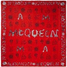 Alexander McQueen Printed silk-chiffon scarf (£310) ❤ liked on Polyvore featuring accessories, scarves, red, red shawl, red scarves, alexander mcqueen scarves, tie scarves and alexander mcqueen