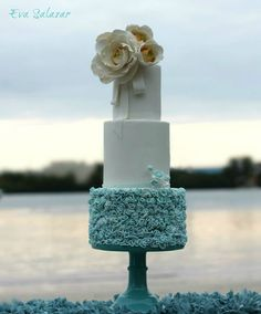 Dusty blue ruffle cake ~ Romantic white and blue wedding cake made for a beach celebration ~ we ❤ this! moncheribridals.com