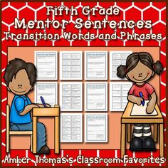 Mentor Sentences: Conjunctions and Transition Words {Fifth Grade} Expository Writing, Narrative Writing, Editing Writing, Writing Lessons, Writing Skills, Mentor Sentences, Mentor Texts, Fourth Grade Writing, Similes And Metaphors