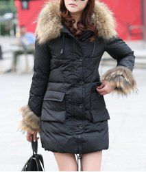 $37.77 Pockets Fur Stitching Beam Waist Single Breasted Long Sections Cotton Blend Solid Color Down Jacket For Women