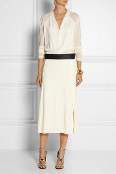 Donna Karan, Goergette-trimmed stretch-jersey midi dress