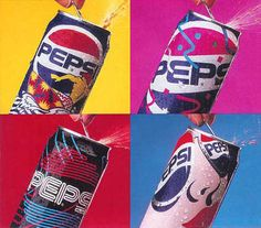 "Pepsi Cool Cans In 1990, Pepsi introduced 4 ""limited edition"" designs on their soda cans. It is one of the first times I can remember a soft drink marketing artwork on their packaging. Nowadays, custom artwork on soda bottles is the norm. Anyone remember these? - popculturez.com"