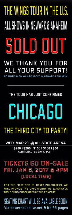BTS (방탄소년단) Announces New Show on Chicago Allstate Arena #BTS #THEWINGSTOUR #BTSLIVE #BTSTour #AllstateArena