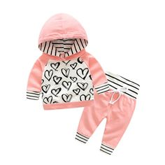 Top and Top 2Pcs Newborn Baby Girls Graffiti Heart Tops Hoodies Pants 2Pcs Outfits Clothes 90/1218 Months -- Visit the image link more details. (This is an affiliate link) #BabyGirlClothesCollection
