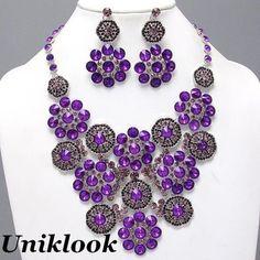 Chunky Silver Purple Amethyst Crystal Acrylic Flower Bib Costume Necklace Set