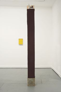 The Space Between Things, 2014, Oil on linen and wood, gloss, emulsion, concrete, nails, 252 x 22 x 22 cm, 22 x 21 x 22 cm, 228 x 22 x 19 cm (inspiration for concrete canvas - monument, column, scale)