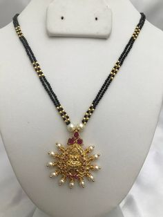 Items similar to Black diamond beads chain with Lakshmi print pendant on Etsy Gold Jewelry, Beaded Jewelry, Handmade Jewelry, Gold Necklaces, Jewellery, Gold Earrings Designs, Gold Set, Designer Earrings, Black Diamond