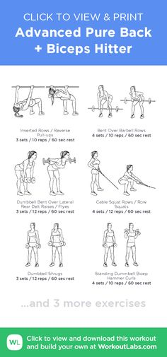Advanced Pure Back + Biceps Hitter –click to view and print this illustrated exercise plan created with #WorkoutLabsFit