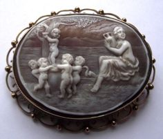 Superb 9ct Gold Goddess Cherubs Cameo Brooch Pin | eBay