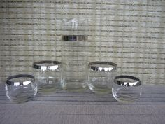 Vintage Mid Century Barware, Set for 2, Pitcher and Set of 4 Roly Poly Glasses, Silver Rim