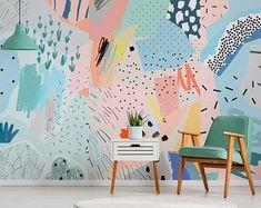 Bird wall mural,  Removable wallpaper,  Peel and stick bird wall art,  Tree wallpaper,  Drawing wall decor,  Watercolor wallpaper #38