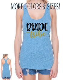Custom Bride Tribe Tank tops, made to order bridal party shirts, customizable by Pretty Party Favors, $17.00 USD