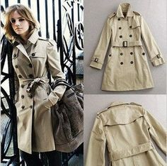 Aliexpress.com : Women's Coat Double Breasted Winter Trench Jacket with Belt for Lady Beige & Black