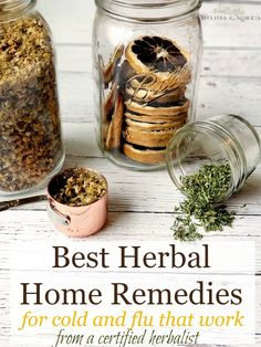 se these easy herbal home remedies for cold and flu that actually work from a certified herbalist. I can't wait to try these homemade herbal recipes out this year! Best thing, these are all whipped up with common kitchen herbs and ingredients. Cold Home Remedies, Natural Health Remedies, Herbal Remedies, Flu Remedies, Bloating Remedies, Kitchen Herbs, Cough Remedies For Adults, Do It Yourself Inspiration, Natural Remedies