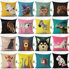 Colorful Dog Houseware Home Decor Cojines Fashion French Buldog Printed Sofa Pillow Throw Linen Cotton Cushion Cover Almofadas. Category: Home & Garden. Subcategory: Home Textile. Animal Cushions, Throw Cushions, Sofa Pillows, Printed Sofa, Printed Linen, Textiles, Linen Sofa, England Fashion, Animaux
