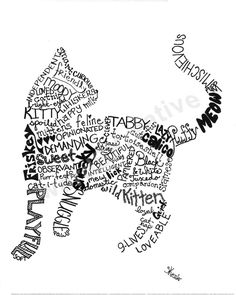 Cat Silhouette, Silhouette Machine, Wort Collage, Shape Poems, Typography Portrait, Beau Gif, Word Clouds, Bullet Journal Ideas Pages, Crop Blouse