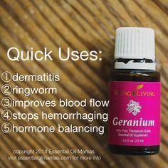 Uses for Geranium, Young Living Essential Oils, YLEO, bug repellent, shingles, ring worm, pms, hormones, bug spray, blood loss