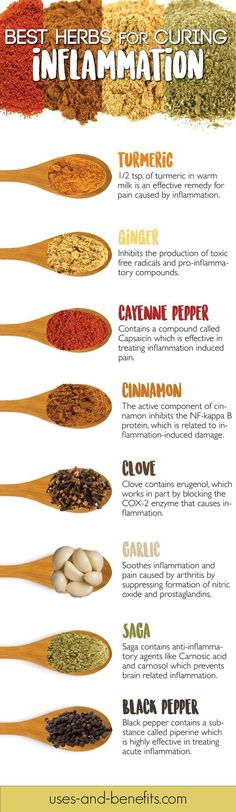 This Infographic List the Best Herbs for Curing Inflammation Fast