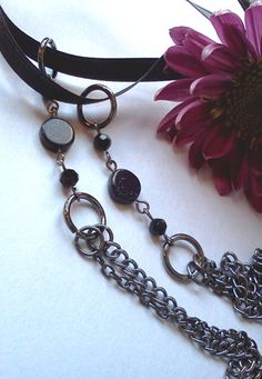 Starry Night Chain and Ribbon Necklace by PinkCupcakeJC on Etsy, $12.00