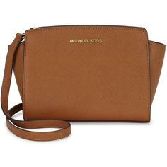 Womens Cross-body Bags Michael Kors Selma Medium Tawny Leather... ($335) ❤ liked on Polyvore featuring bags, handbags, shoulder bags, brown leather shoulder bag, crossbody purse, michael kors purses, crossbody handbags and brown shoulder bag