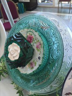 Side view of aqua plate.  MiMi's Plate Flowers